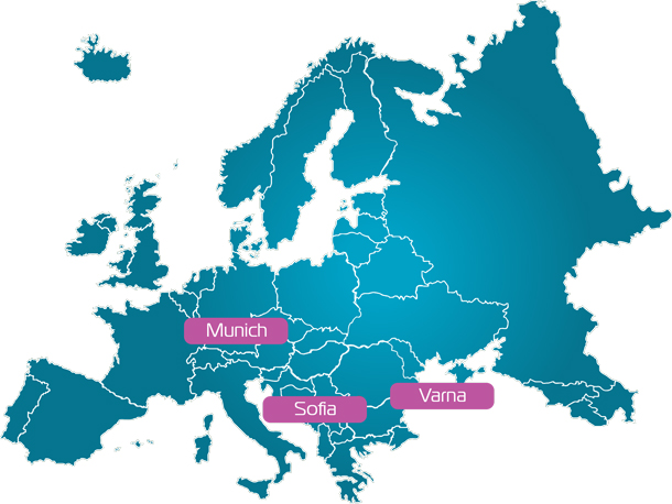 Map of Europe with pointed Qaiware's offices in Munich, Sofia and Varna